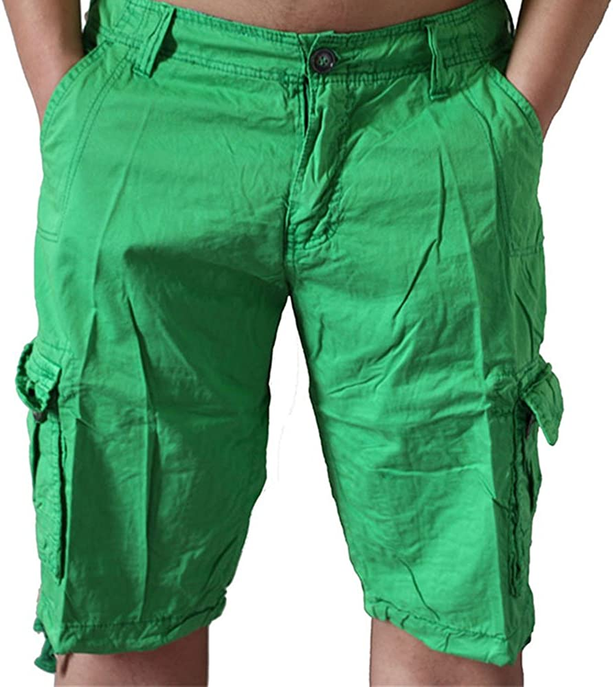 ZOOB MILEY Mens Casual Loose Fit Cargo Shorts Solid Multi-Pocket Plus Size Green Tag 29