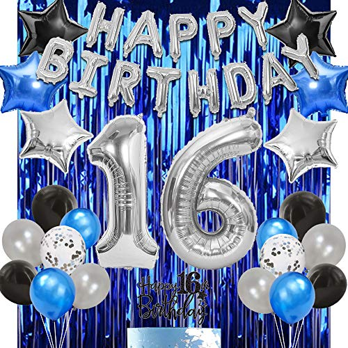 16th Birthday Party Decoration Blue Silver for Boy Girl Sweet 16th Birthday Party Supplies Happy Birthday Banner Number 16 Foil Balloon Blue Curtain