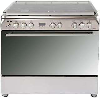 Akai 90X60 cm 5 Gas Burner Full Safety Cooking Range, Stainless Steel - CRMA-960SC