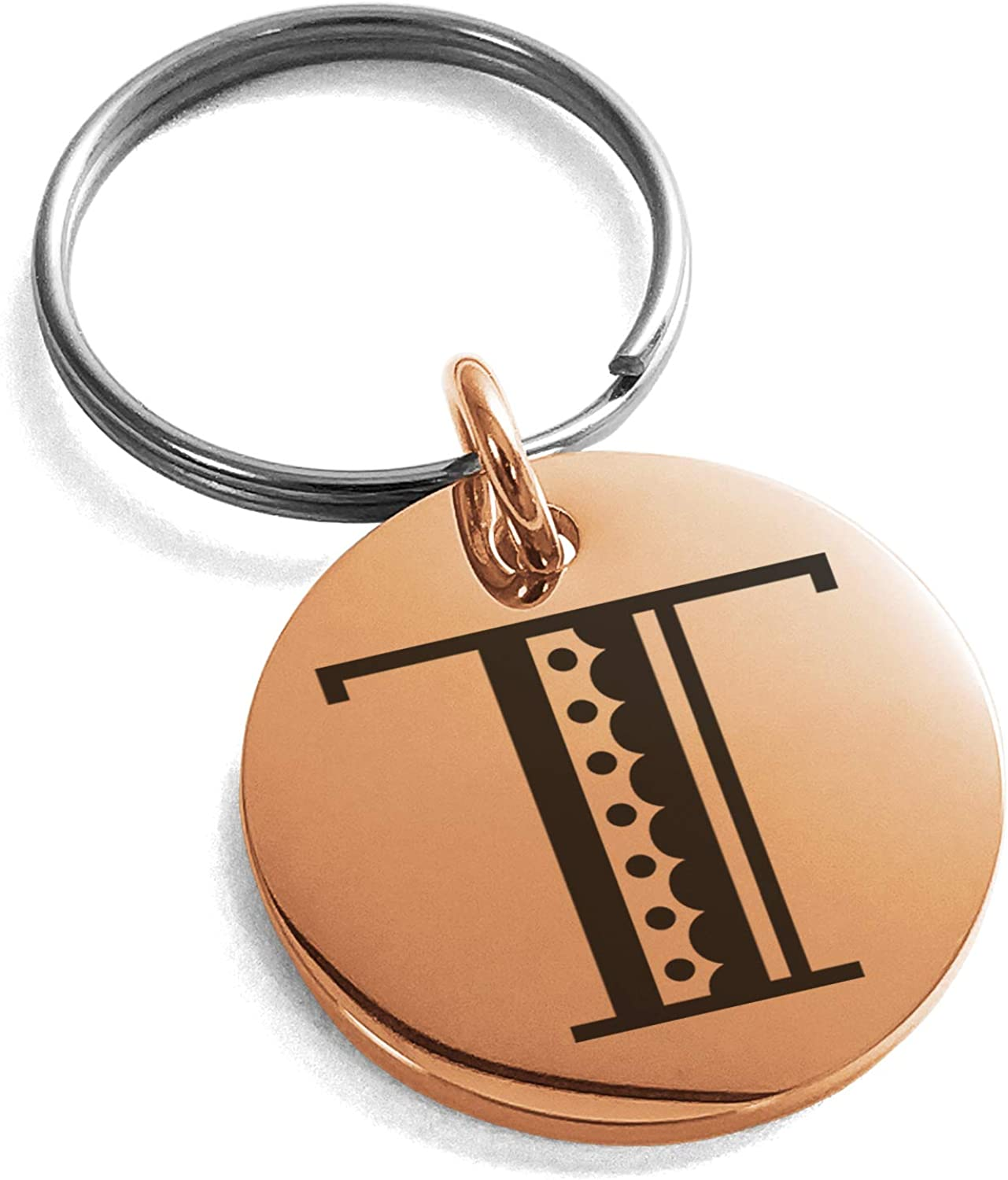 Tioneer Stainless Steel Letter T Initial Metro Retro Monogram Small Medallion Circle Charm Keychain Keyring