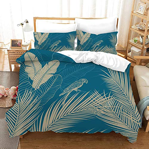 QXbecky Leaves and deciduous Plants Bedding Soft Microfiber Quilt Cover Pillowcase 3 Piece Set Hidden Zipper Double Single