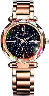 OLMECA Women's Watches Fashion Shinning Dress Starry Night Dial Wristwatches Waterproof Quartz Women Watches Girls Watch f...