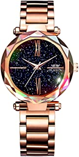 OLMECA Women's Watches Fashion Shinning Dress Starry Night Dial Wristwatches Waterproof Quartz Women Watches Girls Watch for Women 866gd