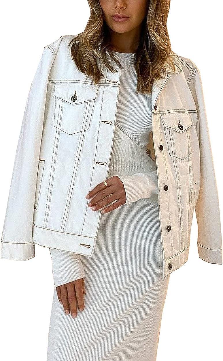 Aox Women Classic Long Genuine Sleeve Down Oversized Jacket Button Denim Direct store