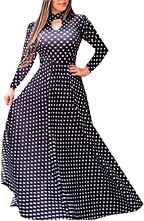 YYLZA Clothes Women Dot Flower Print O Neck Maxi Dress Fashion Long Sleeve Dresses Woman Party Night