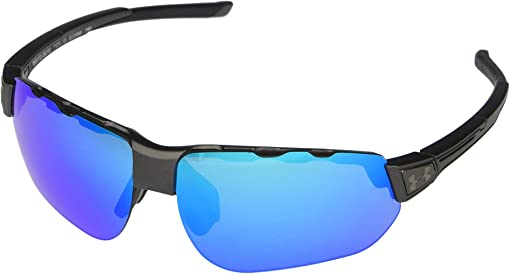 Satin Carbon Frame/Black Rubber/Gray/Blue Mirror Lens