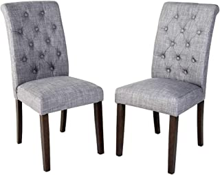 Gray Tufted Dining Chairs Set of 2 Brown Finish Wood Construction Classic Design - Skroutz Deals