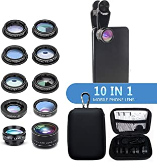 AEDWQ 10 in 1 Lens Set, Phone Camera Lens, 4K HD 2X Telephoto Lens, 0.63X Ultra Wide-Angle Lens, 15x Macro Lens, CPL Filte...