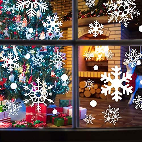 EKKONG Weihnachten Fenstersticker, Schneeflocken Fensterbild, Weihnachtsdeko, Weihnachten Fensterdeko Set, DIY Weihnachtsdeko, Winter Dekoration für Türen, Schaufenster, PVC Fensterdeko Set und mehr