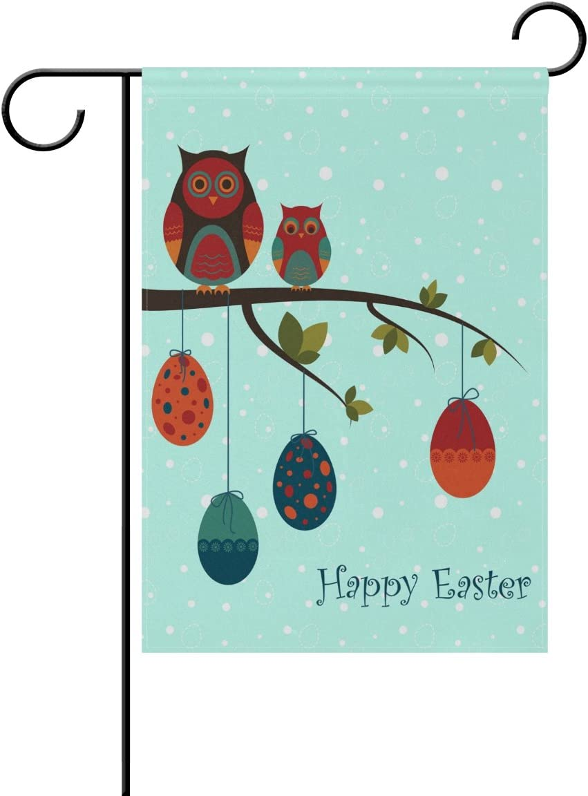 Double Sided Lovely Animal Happy Easter Couple Owls And Egg Polyester Garden Flag Banner 12 X 18 Inch For Outdoor Home Garden Flower Pot Decor Amazon Co Uk Garden Outdoors