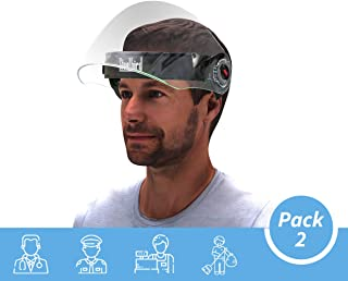 Steelbird SB-43 Flip-up Face Shield, Face Protection Shield, Full Face Protector For All Front Line Warriors (Doctors, Nurses, Police, Shopkeepers, Any staff) (Pack of 2)