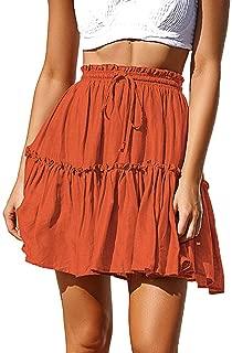 refulgence Mini Skirt Polka Dot Print Ruffles A-Line Short Skirt Lightweight Elastic Waist Flowy Women Skirt