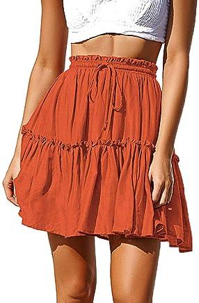c56b2fe0fe0 Gyouanime Womens Skirts Ruffles A-Line Pleated Mini Dress Lace Up Short  Skirt Casual Dress