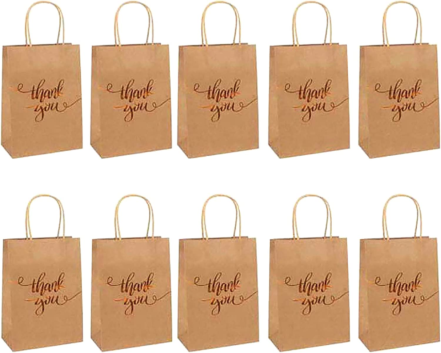 QWDLID 10 Pieces Thank Nippon regular agency You Gift Bags Pape Foil Same day shipping Gold Brown Kraft
