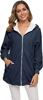 Zip Cardigan Coat Plush Sweater Hoodies (Color : Navy, Size : 5XL)