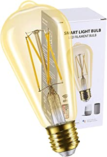 Smart Light Bulb LED Dimmable No Hub Required, App and Voice Control Compatible with Alexa Google Assistant E26 Dimmable (ST21 Gold, 1 Pack)