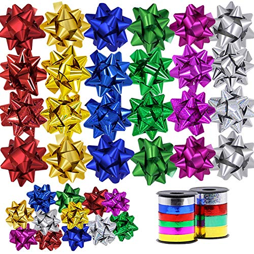 Lulu Home Christmas Gifts Bows, 48 Pieces Self Adhesive Gifts Bows for Decoration, Gift Wrap, Wedding, Party