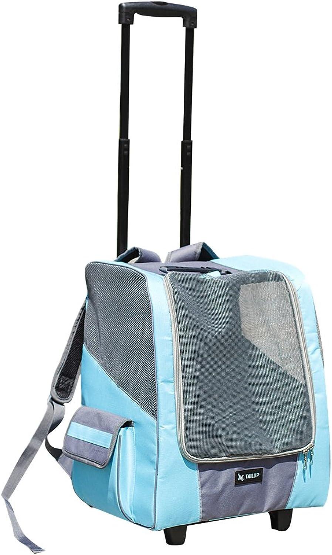 D DOLITY Durable Pet Carrier Dog Cat Trolley Carrier Backpack Shoulder Bag Transport Cage  bluee