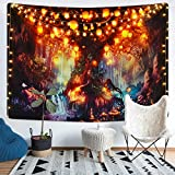 Fantasy Forest Tapestry Magical Tree of Life Tapestry Mystical Shining Lanterns Tapestry Waterfalls Under Ancient Enchanted Tree Tapestry for Room(59.1 x 82.7 inches)