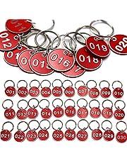 Wenxiaw Etiquetas de Identificación Numeradas Etiquetas de Aluminio para Llaveros para Casilleros Supermarket Hotel Etiqueta de Equipaje Organizar y Clasificar, No. 1-30, Rojo, 30 Piezas