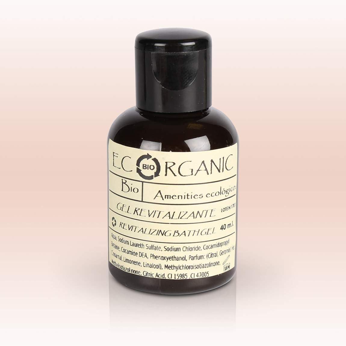 24 Botellas de Gel de Ducha energizante 40ml Ecorganic - Amenities sostenibles para Hoteles - Shower Gel - Body Wash