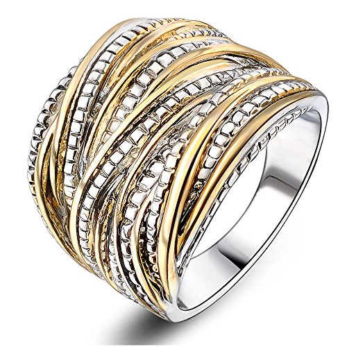 Mytys 2 Tone Gold and Silver Intertwined Design Wrapped Wire Statement Ring Wide Band 18mm Size 8
