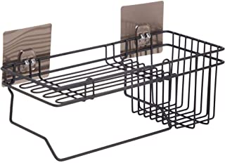 House of Quirk Self Adhesive Wall Mounted Kitchen Storage Hanging Rack Basket with Tissue Holder and Kitchen Towel Holder Hanging Organizer Bathroom Storage Rack (Black)