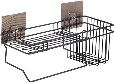 Vihax Self Adhesive Wall Mounted Kitchen Storage Hanging Rack Basket with Tissue Holder and Kitchen Towel Holder Wardrobe Hanging Organizer Bathroom Storage
