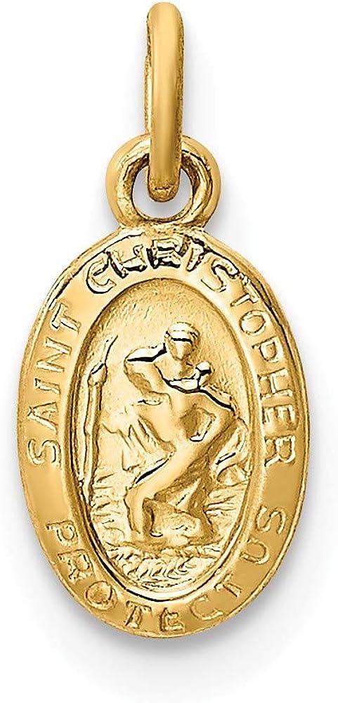 Black Bow Jewelry 14k Yellow Gold, Tiny Saint Christopher Medal Pendant Enhancer