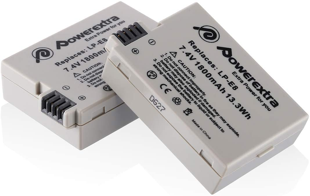 Powerextra 2 Pack 7.4V 1800mAh Ba Li-ion Canon LP-E8 Japan's largest assortment Spring new work Replacement