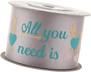 10yd All You Need is Love Fabric Ribbon Roll Embellish Craft 1.6inch - Silvery Grey, 10 Yards