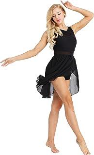 ranrann Robe Danse Latine Femme Justaucorps Gymnastique sans Manches Robe Chacha Tango Danse Ballet Asym/étrique Mousseline de Soie Robe Bal Soir/ée Spectacle Dancewear XS-XL