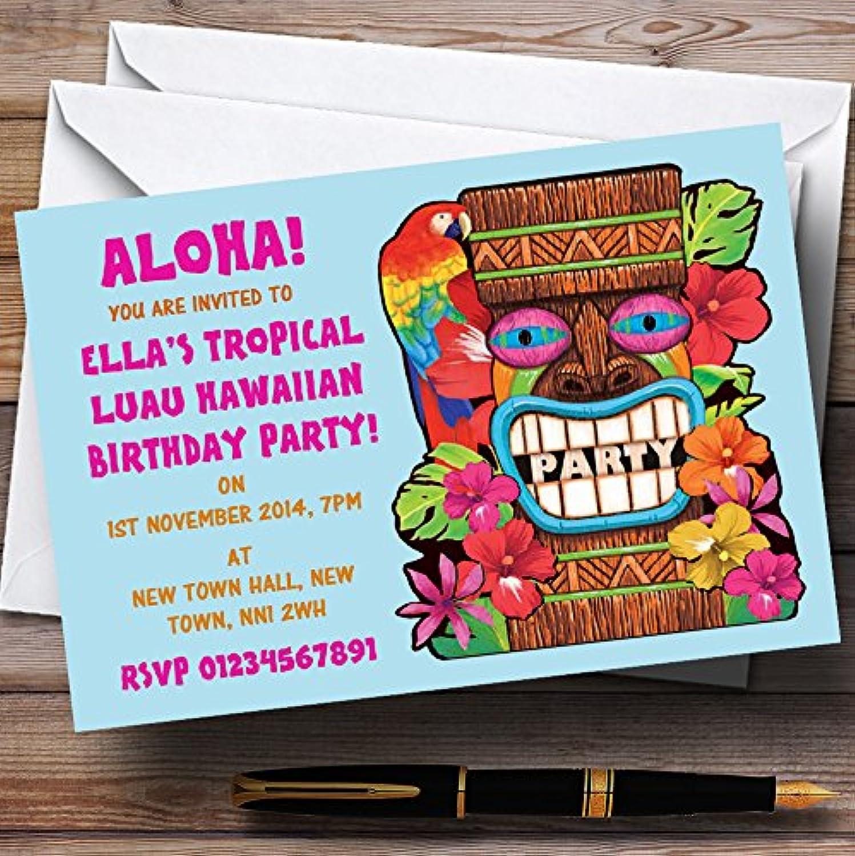 Aqua Tropical Luau Hawaiian Personalised Party Invitations   Invites & Envelopes