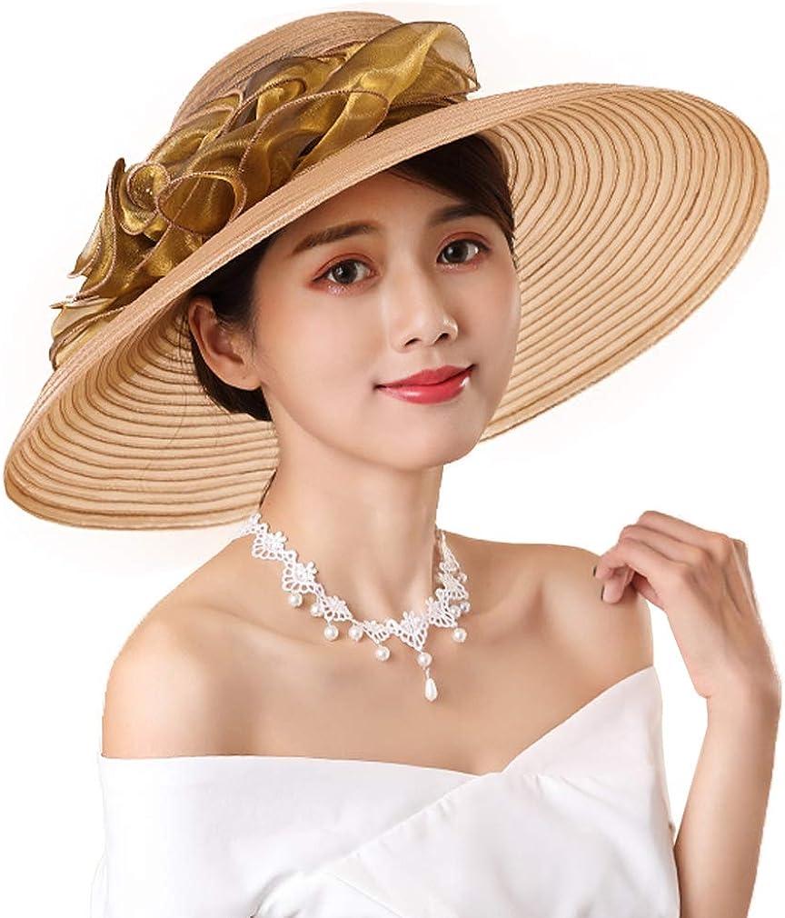 F FADVES Women's Wide Brim Church Hats Derby Fascinator Cap Kentucky Tea Party Wedding Hat