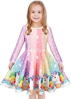 فستان للفتيات من LaBeca بدون أكمام طويل الأكمام للأطفال صغار البنات الصغيرات فساتين حورية البحر يونيكورن كاجوال