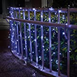 DBFairy Solar Icicle Curtain Lights,200 LED,8 Modes,6.6ft x 6.6ft,Solar String Fairy Lights Backdrop Decor for Proposal Festival Celebration School Carnival Indoor Outdoor Wall-Dark Green -White