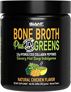 Giant Sports Bone Broth Plus Greens & Collagen Peptides Protein Powder | USDA Certified Organic | For Healthy Skin, Nails,...
