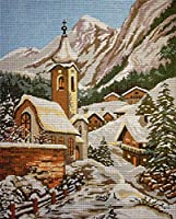クロスステッチ刺繍キット 冬の教会23x30cm 図柄印刷 初心者 ホームの装飾 贈り物 刺繍糸 針 ホームの装飾