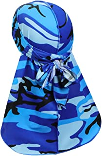 ASHILISIA Fashionable Silky Camouflage Durag Headwraps with Extra Long Tail and Wide Straps for 360 Waves