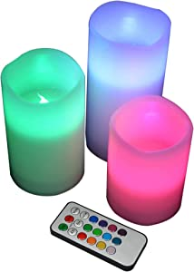 YAKii LED Flameless Wax Candle with Multi Function Remote Control,Color Changing,Timer, for Seasonal & Festival Celebration