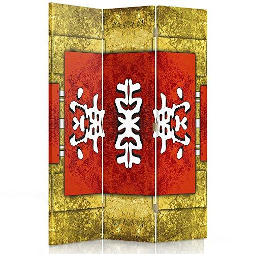 Feeby Frames Il paravento Stampato su Telo,Il divisorio Decorativo per Locali, bilaterale, a 3 Parti, 360° (110x180 cm), Disegno Giapponese, Orientale, Taiwan, Rosso, Giallo