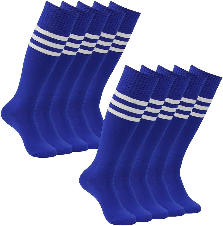 Football Team Socks, Atrest Mens Womens Over The Calf Stretch Long Tube Socks School Team Socks bluee+White Striped 10 Pairs
