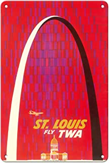 Pacifica Island Art St. Louis, USA - Fly TWA (Trans World Airlines) - The Gateway Arch Monument - Vintage Airline Travel P...