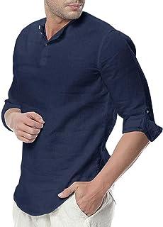 Camisa Hombre Cuello Mao Lino Blusa Manga 3/4 Camisas Top Sin Cuello De Color Sólido Blusas Suelta Camisas De Trabajo Suave Cómodo Transpirable