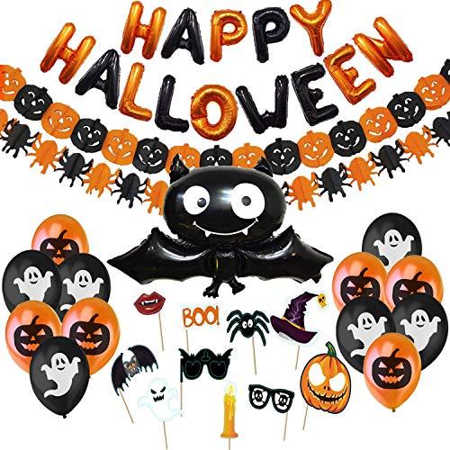 Jonami Hallowen Decorazioni Halloween Kit Casa - Festone di Palloncini Happy Halloween, Pipistrello Gigante, Ghirlande di Zucche e Ragni, Foto Booth Props Halloween e Palloncini Neri e Arancioni