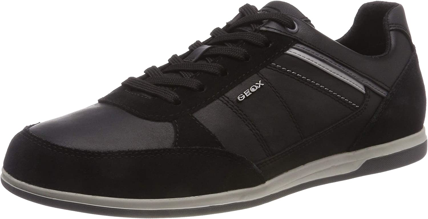 Geox Men's Waxed Leather Renan B Trainers Black