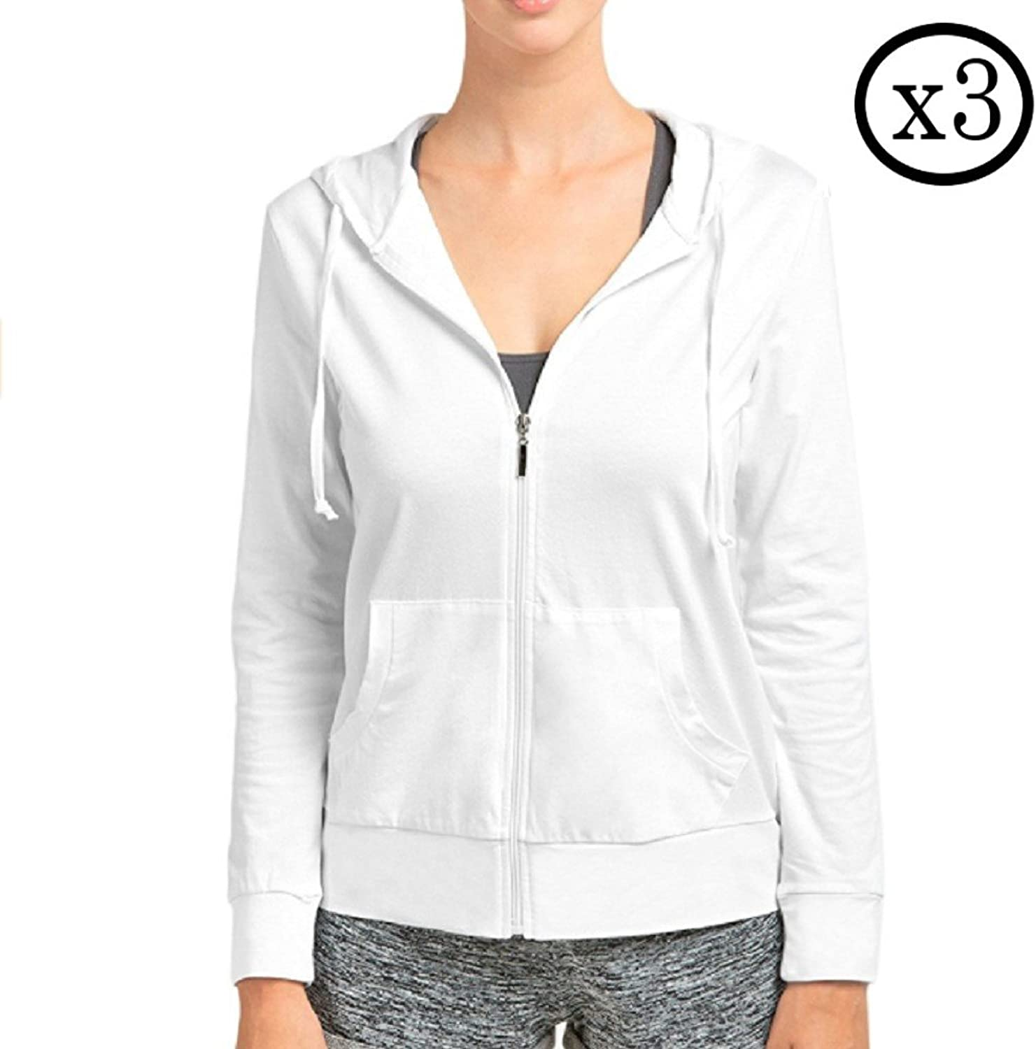 Qraftsy 3 Pack Womens Cotton ZipUp Hoodie Jacket  Bulk Wholesale