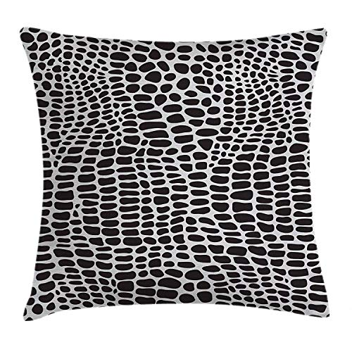 dingjiakemao Alligator Throw Pillow Cushion Cover, Illustration of Crocodile Skin Wild Animal Skin Print Simplistic Design, Decorative Square Accent Pillow Case, 18 X 18 inches, Black and Pale Grey
