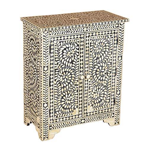 Casa Moro Orientalische Kommode UMA mit Bone Inlays 64,5x33x76 cm (B/T/H) handgefertigter Kommodenschrank Holzschrank aus Mangoholz mit Knochen Intarsien | Echtes Kunsthandwerk Sideboard | RK200