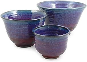 Plum Perfect 3-Piece Large Nesting Mixing Bowl Set, American Made Stoneware Pottery